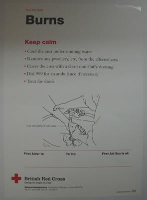 series of First Aid posters with cartoon illustrations showing how to deal with certain situations