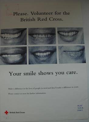 Volunteer recruitment poster: 'Please volunteer for the British Red Cross'