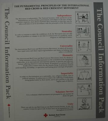 poster advertising the seven Fundamental Principles of the Red Cross Movement