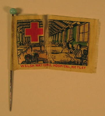 Miniature silk fundraising flag depicting nurse tending to wounded in hospital ward. Sold in aid of the Welsh National Hospital, Netley, Hants.