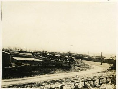 Convoy of Red Cross ambulances outside No 26 General Hospital in Etaples, France