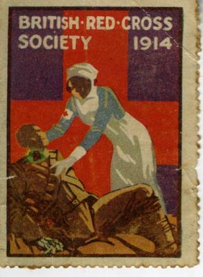 British Red Cross Society War stamp: 'nurse and wounded soldier,' 1914; Communication/postage stamp; 1410/1(1)