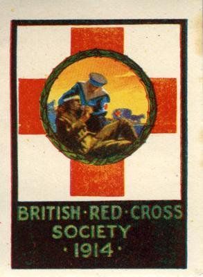 British Red Cross Society War stamp: 'sailor and wounded soldier,' 1914