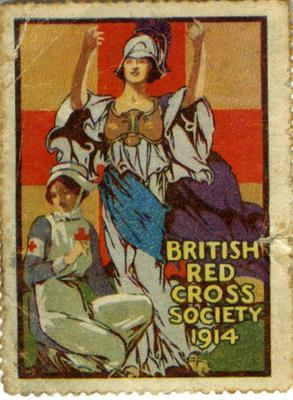 British Red Cross Society War stamp: 'Nurse and Britannia,' 1914; Communication/postage stamp; 1410/1(3)