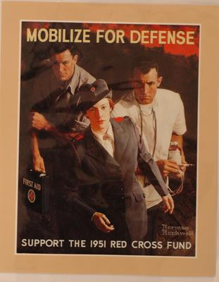 American Red Cross fundraising poster, 'Mobilize for Defense, Support the 1951 Red Cross Fund'.