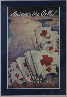 American Red Cross fundraising poster, 'Answer the Call! 1953 Red Cross Fund'.