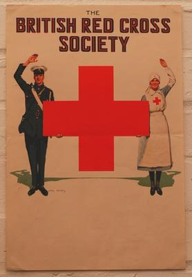 British Red Cross poster featuring a male and female member supporting the emblem.