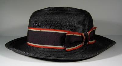 Navy straw hat with red/white/blue riband