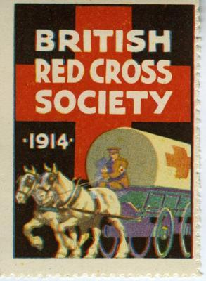 Large stamp showing a horse drawn carriage driven by a man in British Red Cross uniform