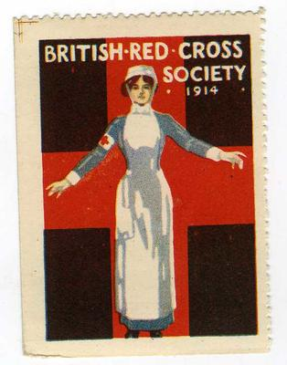 Large stamp showing a female VAD in uniform standing in front of a red cross with her arms open: 'British Red Cross Society 1914'.