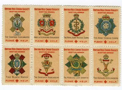 Set of eight fundraising stamps produced by the British Red Cross Society Scottish Branch
