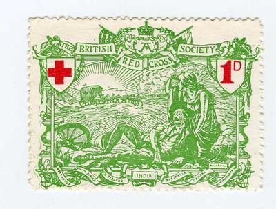 British Red Cross Balkan War 1d illustrated postage stamp