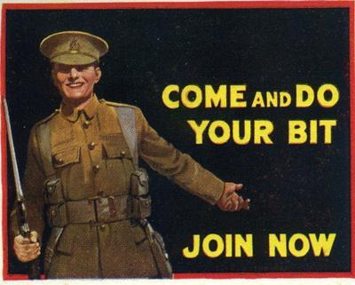 Postage label: 'Come and Do Your Bit. Join Now'
