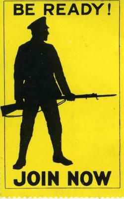 postage label encouraging army recruitment, showing the silhouette of an armed soldier on a yellow background: 'Be Ready! Join Now'