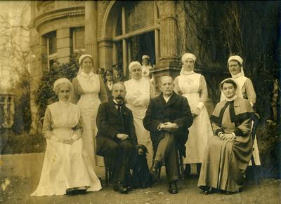 Nursing Staff and Doctors outside Ashcombe House Red Cross Hospital in Weston-Super-Mare, Somerset