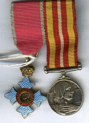 Miniature CBE and Voluntary Medical Services medal
