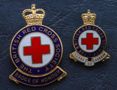 British Red Cross badge of honour and miniature