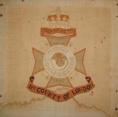 Embroidery showing regimental badge of the First Surrey Rifles