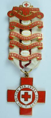 British Red Cross Proficiency in Red Cross Nursing bar 1951, 1952, 1953 and 1955