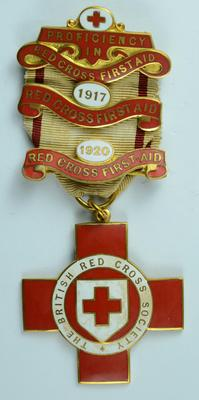 British Red Cross Proficiency in Red Cross First Aid with bars 1917 and 1920