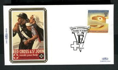 limited edition 'silk' first day cover for British Red Cross 125th Birthday commemorative stamp