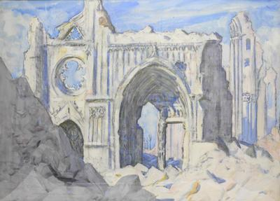 gouache: Ypres Cathedral as seen from the foot of the Cloth Hall Tower by Ernest Proctor