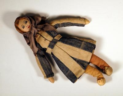 Cloth doll dressed as an inmate from Belsen