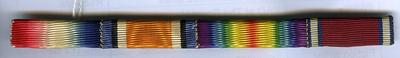 Medal ribbon bar featuring ribbons of Campaign Star (1915); British War Medal [issued 1914-1920]; Victory Medal [issued 1914-1918]; and George V Silver Jubilee Medal (1935).