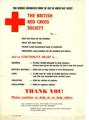 'Thank you ... Please continue to help us' September 1964