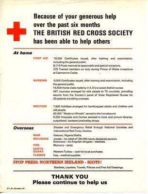 Because of your generous help over the past six months the British Red Cross Society has been able to help others