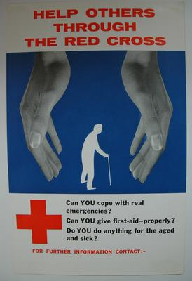 'Help others through the Red Cross' part colour poster.