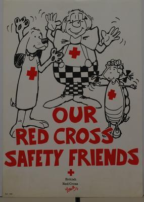 """Poster set entitled """"Our Red Cross Safety Friends"""". Produced by Youth Department to portray accident prevention and basic first aid skills for younger members. The set consists of 22 posters A4 size produced in black, white and red."""
