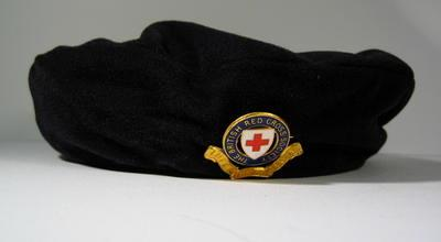 Beret, brushed nylon with officer's cap badge