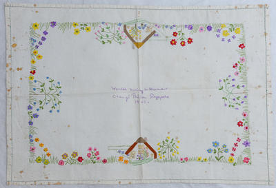 Tray cloth believed to have been worked during internment in Changi Gaol, Singapore in 1943.