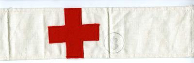 white brassard featuring red cross emblem and [army] stamp