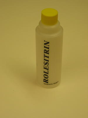 bottle of 'Rolesitrin' anti-parasite shampoo