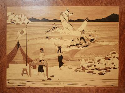 Marquetry picture depicting Red Cross personnel at First Aid post