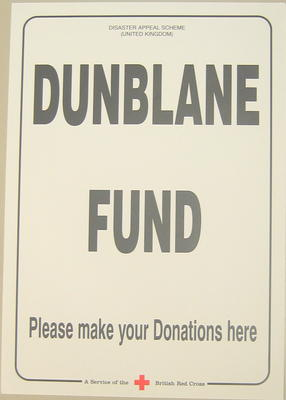 Poster advertising the Disaster Appeal Scheme (United Kingdom) Dunblane Fund