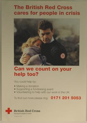 Poster promoting the British Red Cross and appealing for people to get involved