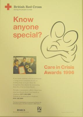 Poster advertising the Care in Crisis Awards 1996