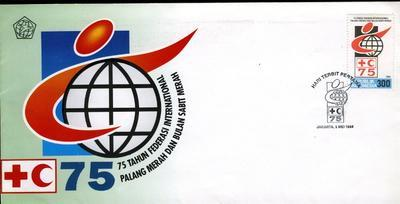 First day cover issued by the Republic of Indonesia to commemorate the 75th anniversary of the Federation of Red Cross and Red Crescent Societies. 1995.
