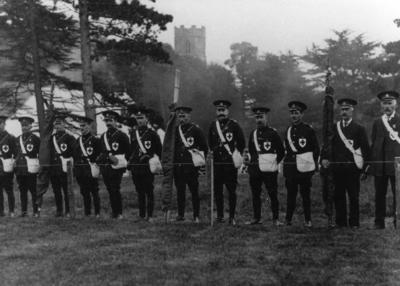 Sudbourne Men's Detachment [Suffolk/13] some in full uniform, all wearing badge with red cross emblem on left breast