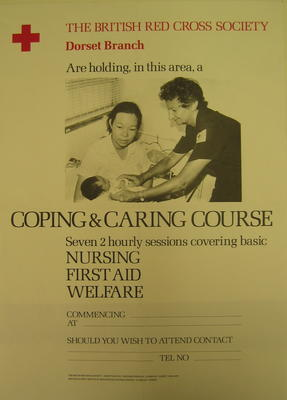 poster produced by Dorset Branch advertising a 'Coping and Caring Course'