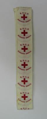 Roll of cloth labels: British Red Cross Berkshire Branch with emblem