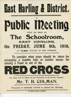 poster advertising a meeting to organise a jumble sale in aid of the Red Cross
