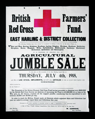 Poster advertising forthcoming British Red Cross Farmers' Fund agricultural jumble sale; Posters/poster; 1684/2