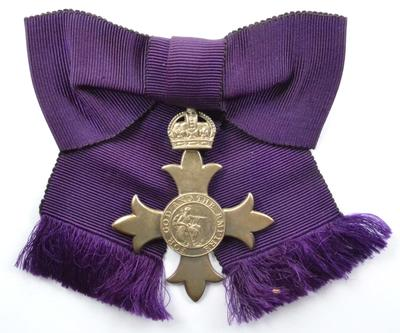 MBE medal on ribbon