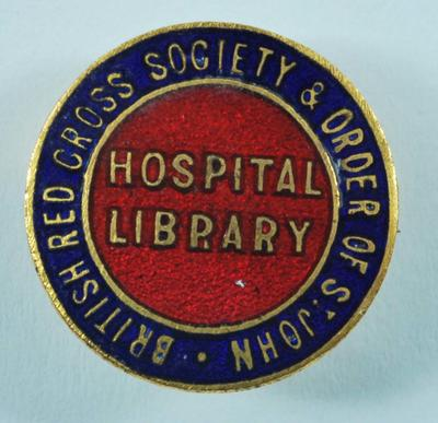 British Red Cross and Order of St John Hospital Library badge