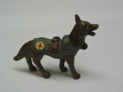 Small model dog, made of Elastolin.
