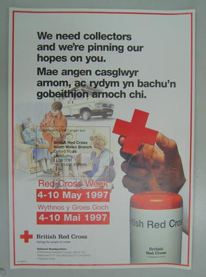 poster advertising Red Cross Week 4-10 May 1997 in Welsh